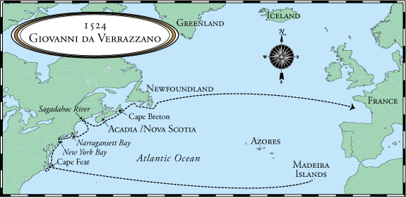 A map of da Verrazzano's voyage (image from Before Winthrop)