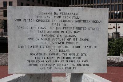 Giovanni da Verrazzano historic marker in Providence, RI (image from Historic Markers Database)
