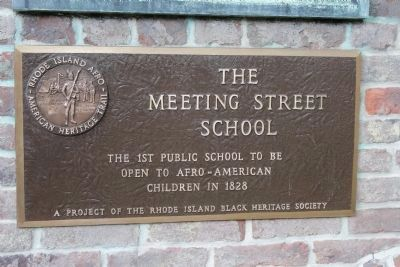 Meeting Street School historic marker, erected by the Rhode Island Black Heritage Society (image from Historic Markers Database)
