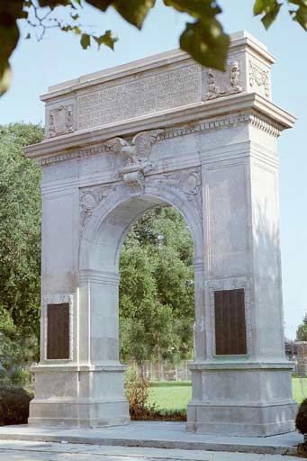 City leaders worked to build this monument shortly after the armistice, and this was one of the first World War I monuments to be dedicated in the United States