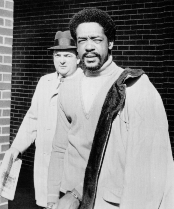 Black Panther Chairman Bobby Seale on his way in Montville, Connecticut on March 18, 1971 to the opening of his murder trial in New Haven. (AP Photo)