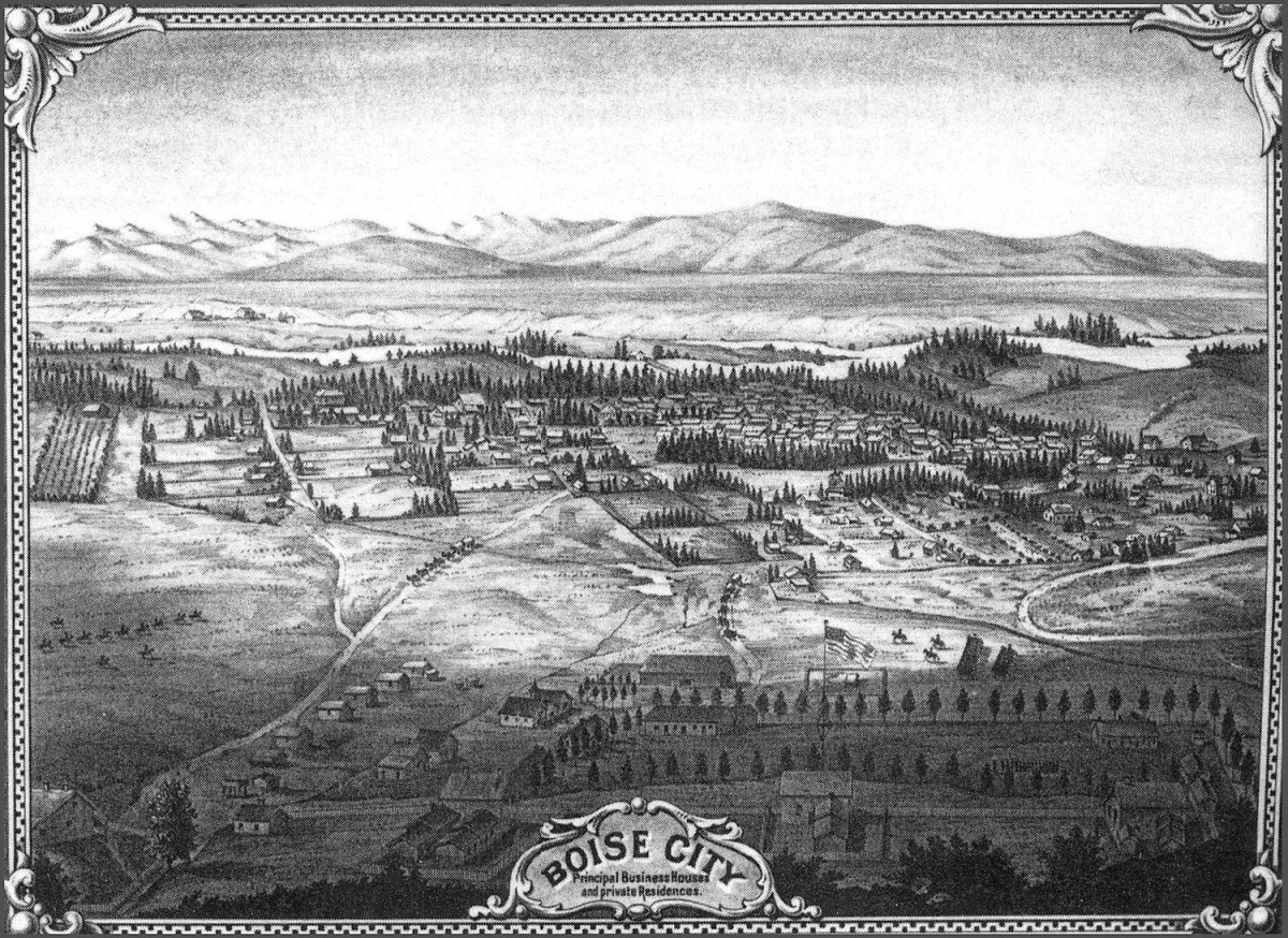 19th century map of the Boise Valley, with Fort Boise in the foreground (www.ctagroup.com)