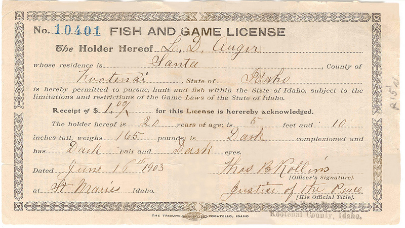 Example fish and game licence issued by the department in 1903 (www.fishandgame.idaho.gov)