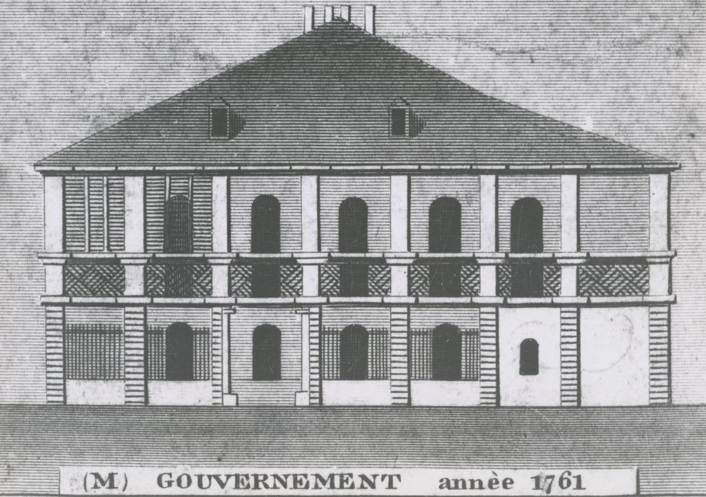 Late 18th sketch of building when it served as the French Government House. Courtesy of the Louisiana State Museum