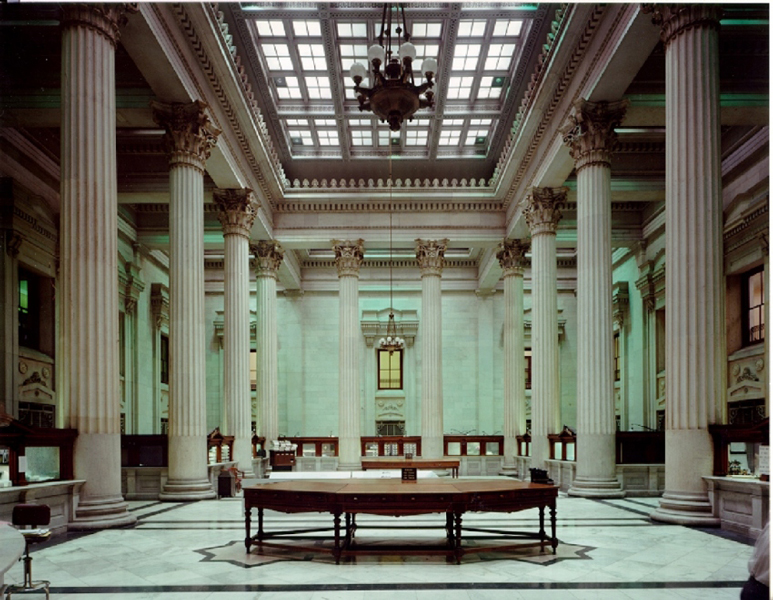 The grand Marble Hall in the center of the building is one of the finest Greek Revival interiors in the United States.