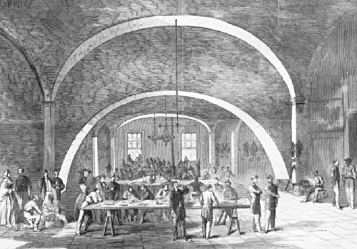 The Union controlled New Orleans for most of the war. This image from Harper's Weekly shows Confederate soldiers held as prisoner in the Custom House.