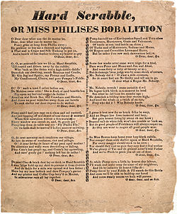 Broadside ridiculing victims of the 1824 Hard Scrabble riot and promising similar treatment to other African Americans settling in the city.