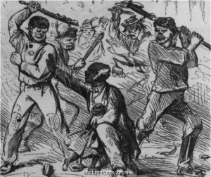 Attacks by white rioters on African Americans occurred in many parts of the country. This is a contemporary depiction of the 1863 New York Draft Riot that occurred four decades after Providence's Hard Scrabble riot. Photo from authentichistory.com