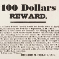 The Providence Town Council offered a reward for information leading to the conviction of the men whose violent deeds led to the Snow Town Riot.