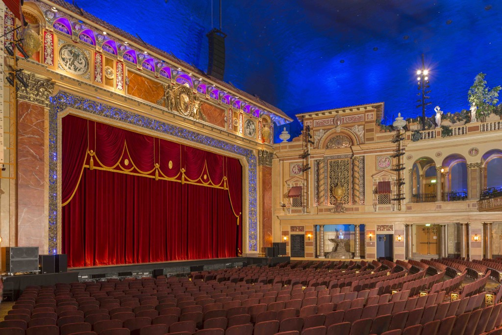 The restored interior demonstrates the grandeur of this historic atmospheric theater.
