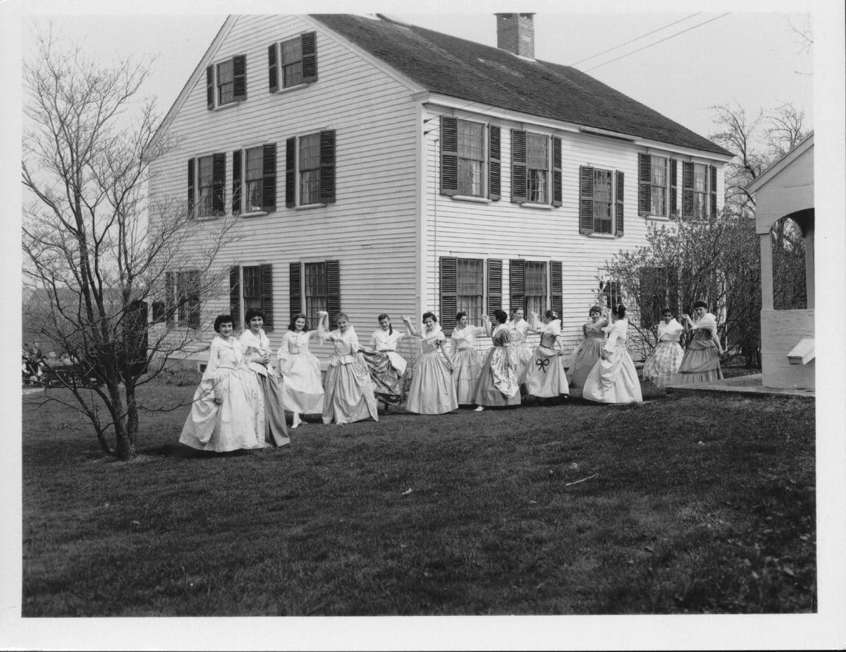 Image of women dancing a minuet at the Nathaniel Greene Homestead, 1955.