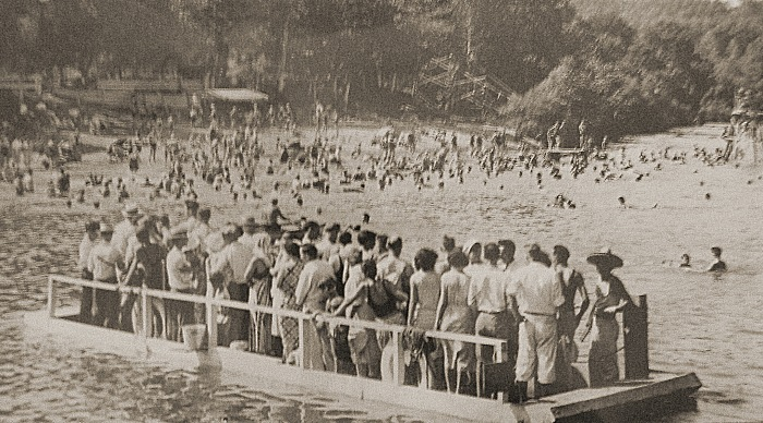 Visitors arriving to a beach along the Coal River