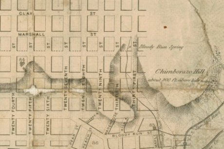 A map of Richmond showing Bloody Run Creek and Spring