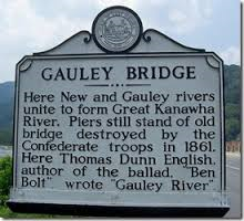 Historical landmark citing the union of the New and Gauley Rivers as well as pointing at the piers that still stand from the Bridge that Confederate troops destroyed in 1861.
