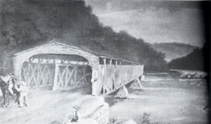 Original bridge burnt by Confederates as they retreated to White Sulfur Springs to halt the union advancement.