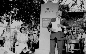 Weston Maughan, son of the late Russel Maughan, reads a tribute to his father at the monument's dedication ceremony in 1990. Photo by Carl Kuntze.