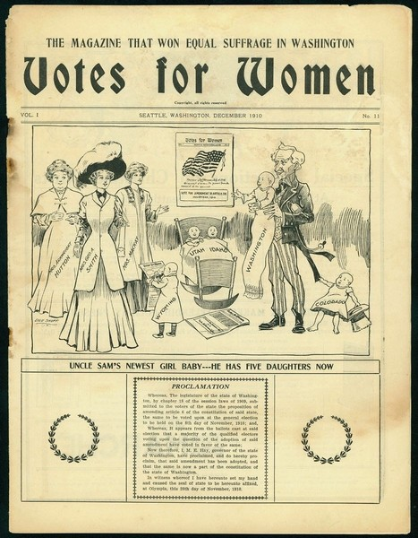 "The national suffragist publication Votes for Women celebrates the victory in Washington, which appears hear as a newborn joining the ""family"" of other states that had approved equal suffrage."