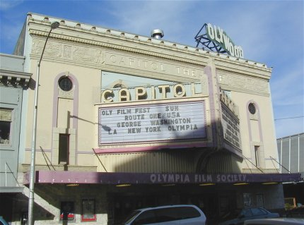The theater's marquee was added after a restoration project and is a faithful recreation of the marquee that was created for the theater in the 1930s.