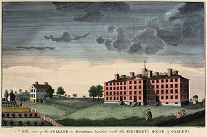 Engraving depicting University Hall and the President's House, c. 1845 (image from Hometalk)