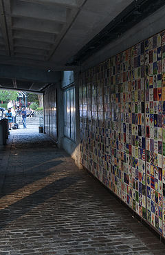 View of the Wall of Hope at the Waterplace Park tunnel