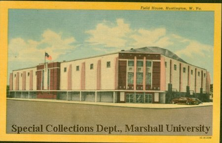 Postcard view of Memorial Field House, 1956
