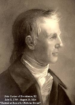 Portrait of John Carter, publisher of the Providence Gazette (image from Historic Markers Database)