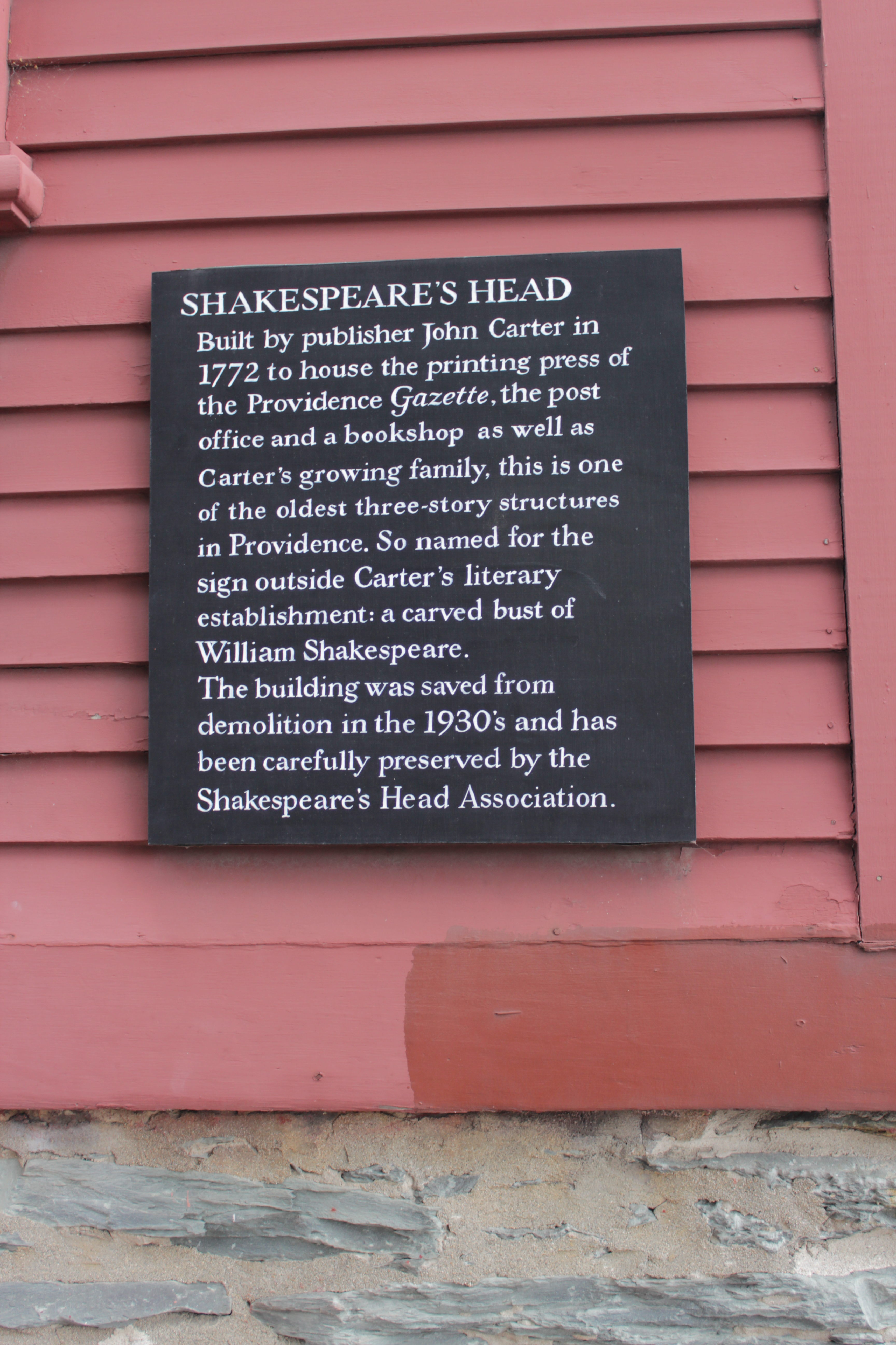 Shakespeare's Head historic marker (image from Historic Markers Database)