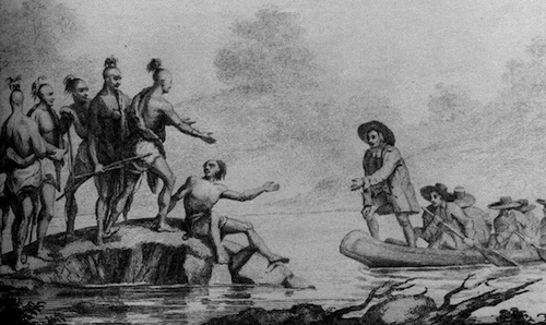 An 1827 engraving showing Williams meeting the Narragansett