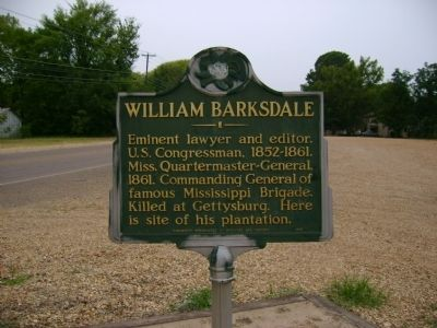 This historic marker reveals the location of Barksdale's plantation