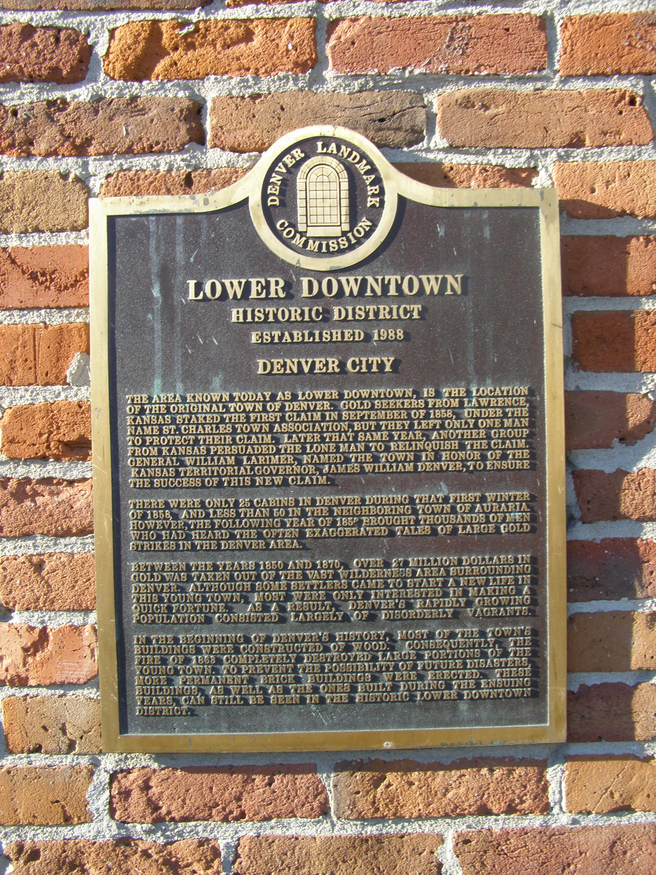Lower Downtown Historic District Historical Marker