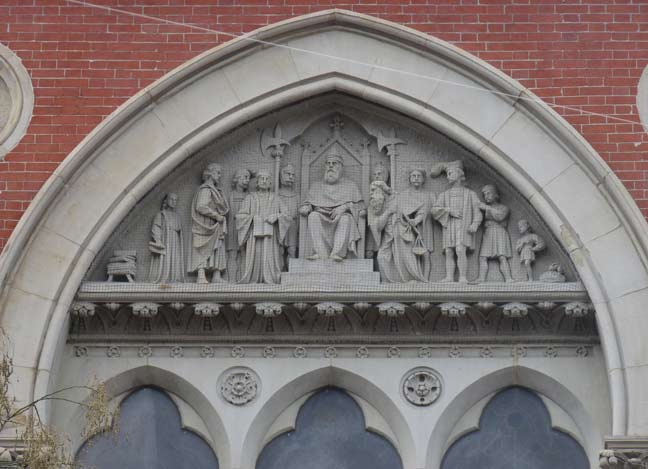 Jefferson Market pediment, depicting a scene from Shakespeare's The Merchant of Venice