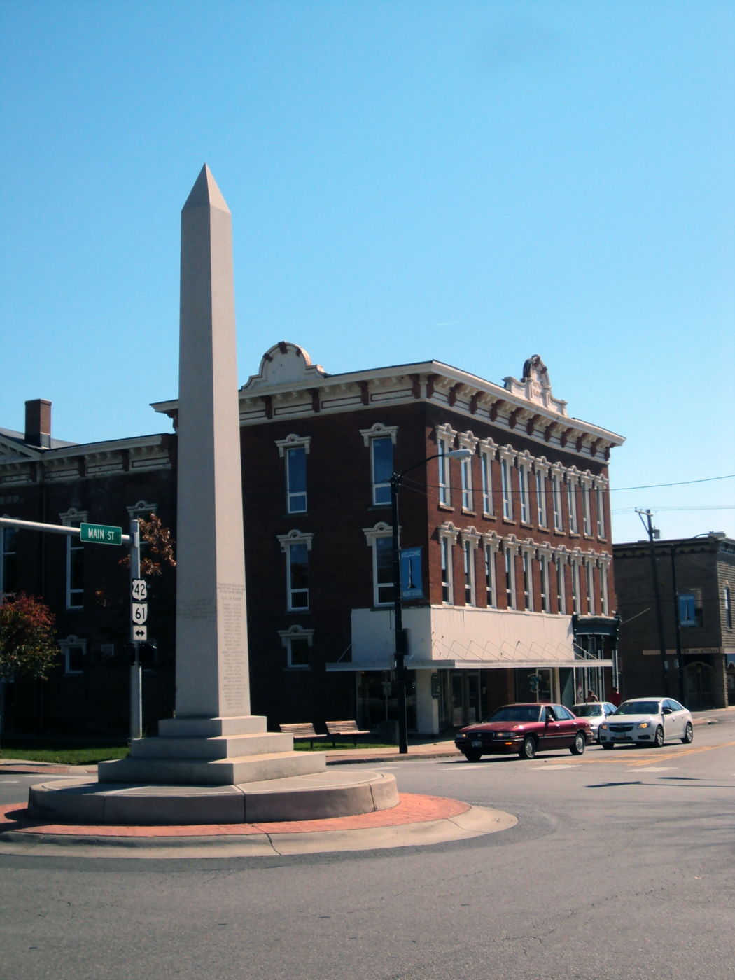 "Known at the time as the ""Victory Shaft"" this memorial stands in the center of the town."