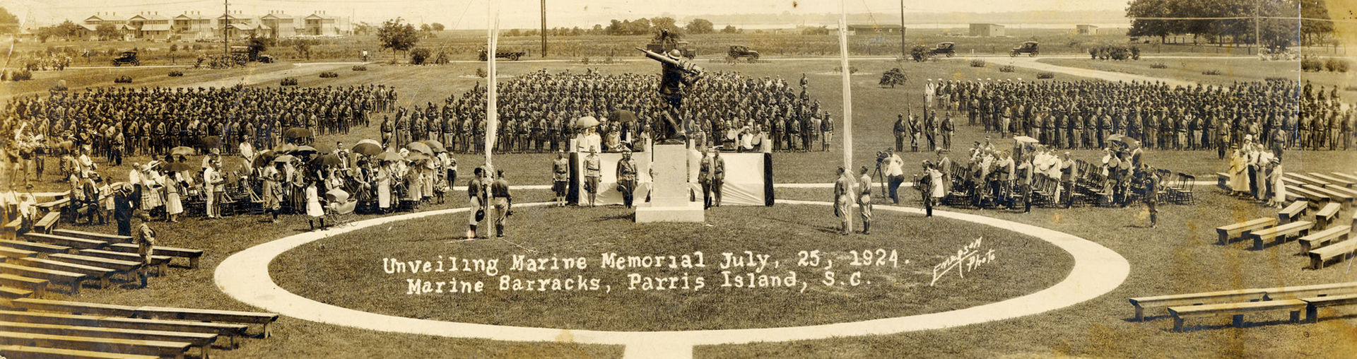 Dedication of the statue, 1924. The statue was moved from this former drill field and now stands in front of the headquarters building.