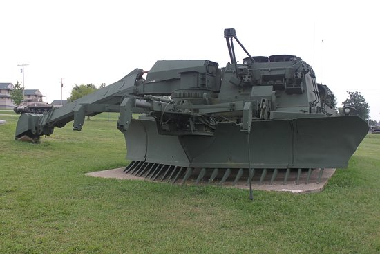 An engineering vehicle used for earthwork in combat environments