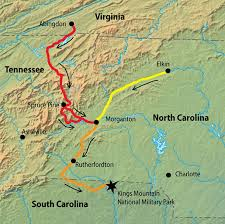 Here is an image of the trails the were traveled by the patriot militia to arrive in South Carolina.