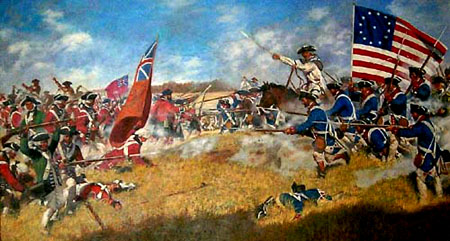 Here is an image of the Battle of Kings Mountain, between the British and the Patriots that traveled the Overmountain Victory National Historic Trail.