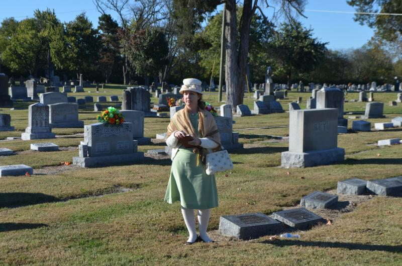 A period actor during the museum's annual cemetery tour.