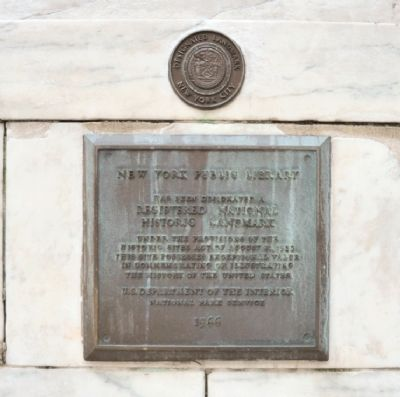 Historic Marker at the New York Public Library (image from Historic Marker Database)