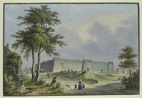 Painting of the Croton Reservoir by Agustus Fay, 1850. This reservoir was on the site that would later become the main branch of the NYPL (image from Bryant Park website)
