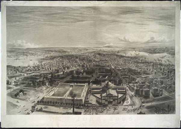 Aerial view from Latting Observatory of Croton Reservoir and the Crystal Palace, on the grounds that would become the NYPL and Bryant Park (image from Bryant Park website)
