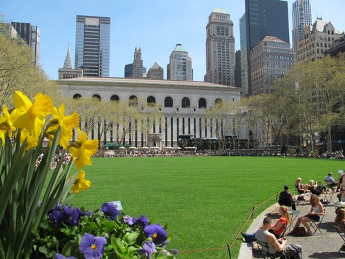 Spring in Bryant Park, facing the New York Public Library (image from Bryant Park's official blog)