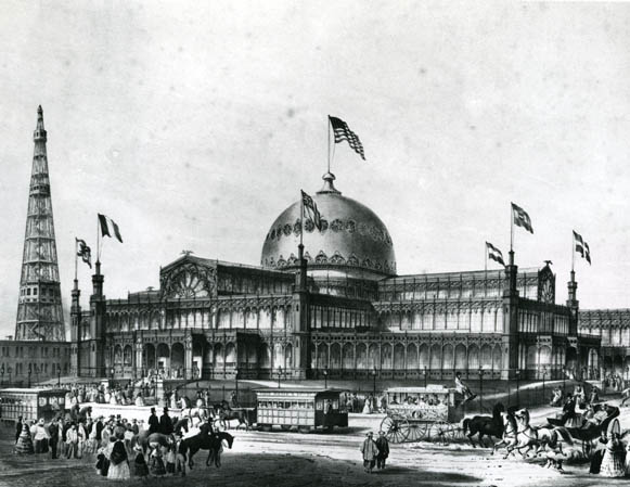 Drawing of The Crystal Palace by F.F. Palmer, 1853 (image from Bryant Park official website)