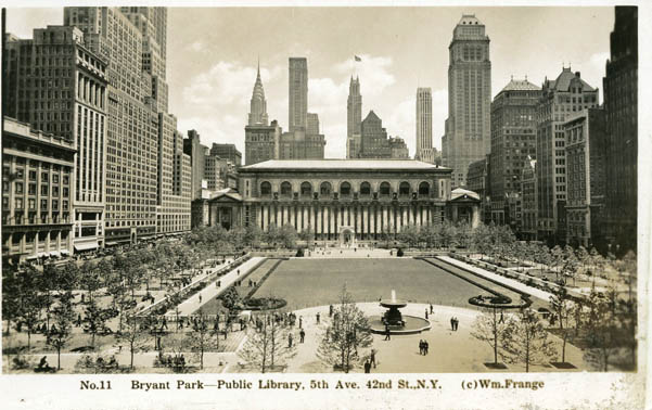 Bryant Park in 1937, facing the New York Public Library (image from Bryant Park official website)