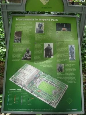 Monuments at Bryant Park marker (image from Historic Markers Database)