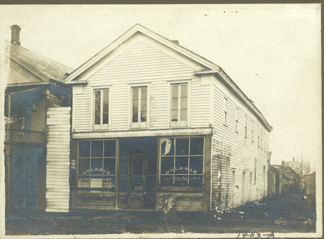The Parker Coulter building around 1900. This small store is where the original Legislature met.