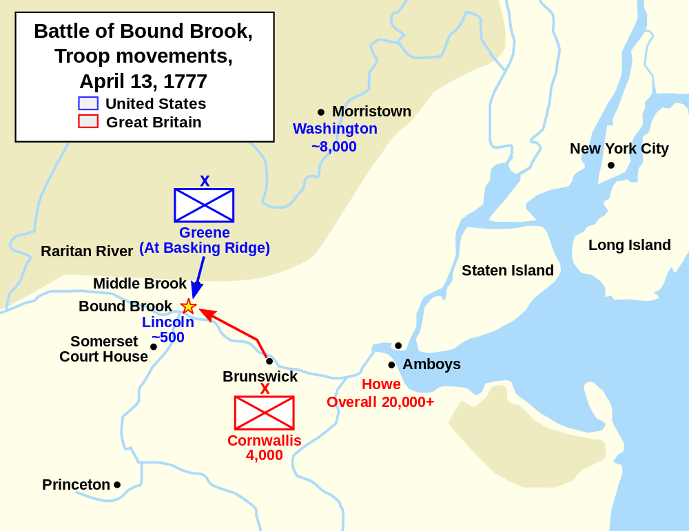 Map of the battle. Washington sent a large force to support the troops at the outpost but it arrived after the British ransacked it.