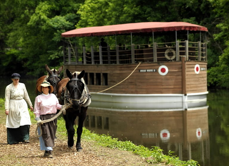 The mule-drawn canal boat ride lasts 45 minutes