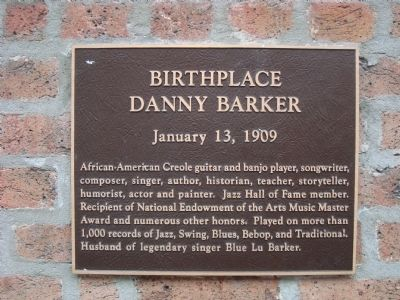 Birthplace of Danny Barker, historical marker