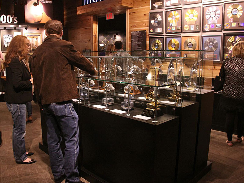Jones' numerous awards and gold records on display.