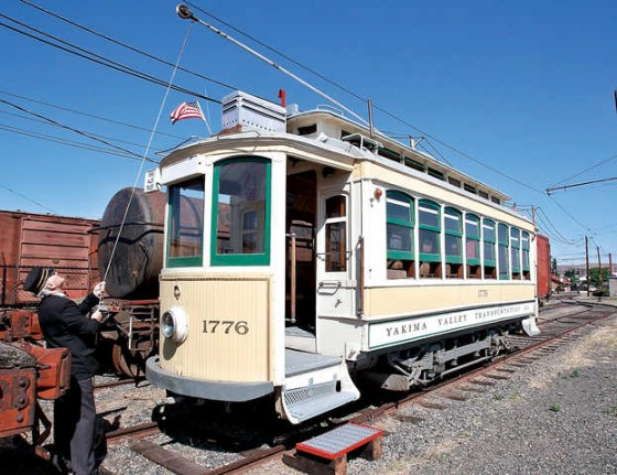 One the streetcars at the museum